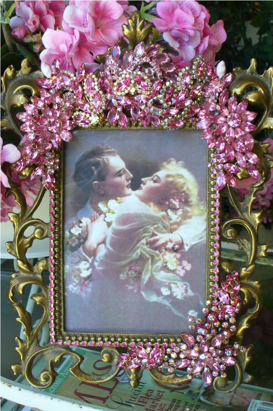 Pink Bejeweled Opulent Scroll Frame Vintage Jewels From The Collection  By Debbie Del Rosario-Weiss, Juliana,brush, comb, vintage, Clock,tray, mirror, perfume, antique, vintage, victorian, Sparkle,