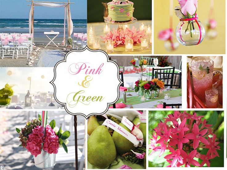 pink and green beach wedding