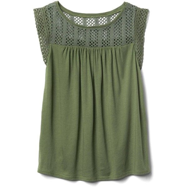 Gap Women Crochet Lace Tank (£16) ❤ liked on Polyvore featuring tops, tank tops, crew neck tank top, green top, green tank, relaxed fit tank top and ruched tank top