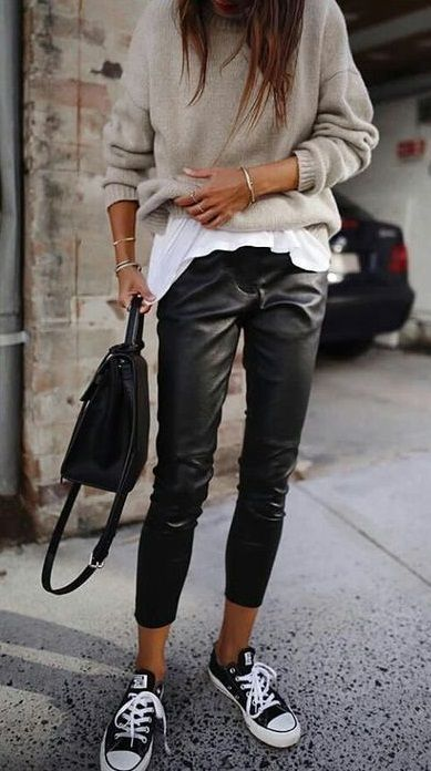 a2c140196034c8 street style. leather trousers. converse. knit top.  streetstyle -  Converse   Knit  leather  street  STREETSTYLE  style  Top  trousers