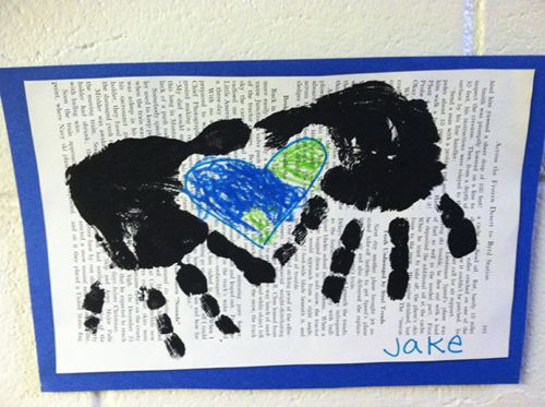 Earth Day Hands Around World Kids Paint Craft - kids create heart / earth with hands and fingerpaint to show they care about the environment! #earthday #earth #kids