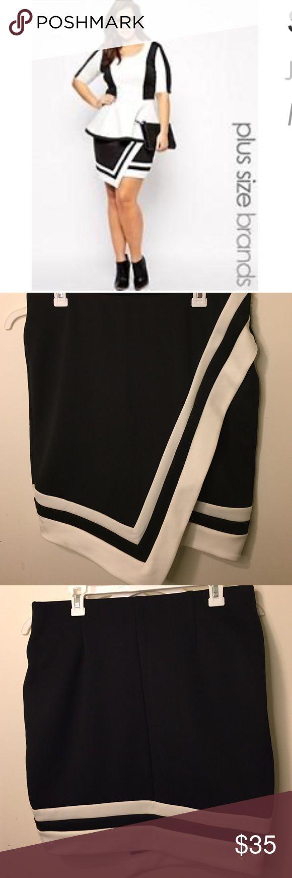 ASOS Curve asymmetric wrap skirt Junarose asymmetric wrap skirt purchased from Asos curve. size US 14, never worn but no tags. Scuba like material. ASOS Curve Skirts Asymmetrical
