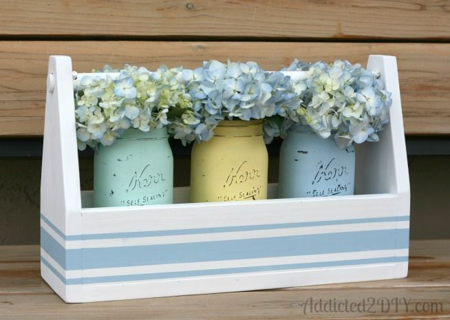 Mason jars, vintage toolbox & pastel shades of chalk paint ... what a winning combination!