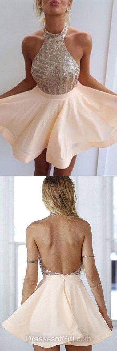 Halter Prom Dress, Chiffon Prom Dresses, Backless Homecoming Dress, A-line Homecoming Dresses, Sequined Cocktail Dress