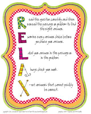 RELAX - with test-taking strategies cute poster to frame for the kids. Possibly print this for FCAT.