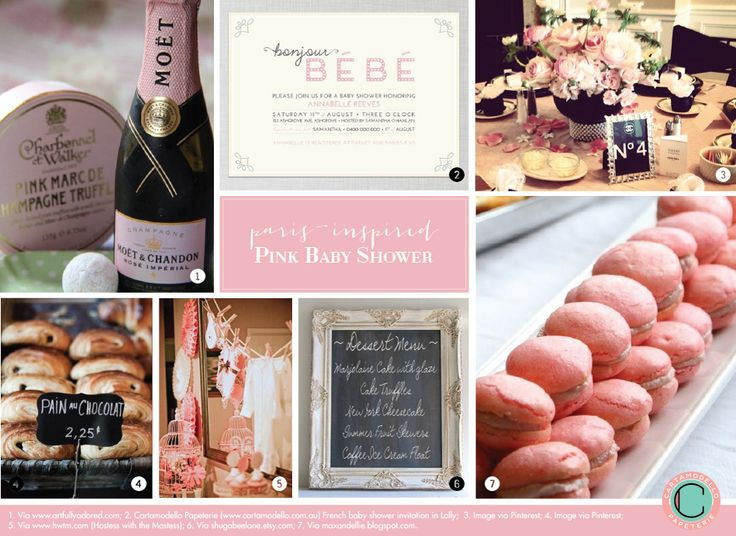 French Baby Shower Inspiration Board: Bonjour Bébé in shades of pink.