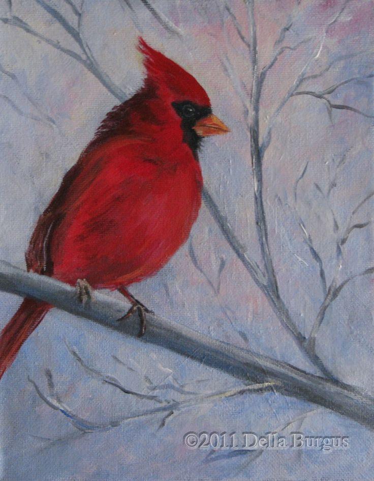 cardinal painting on birch tree - Google Search