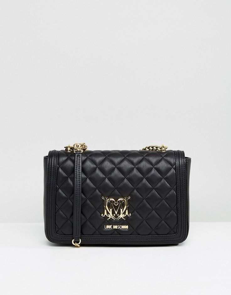 LOVE MOSCHINO QUILTED SHOULDER BAG - BLACK. #lovemoschino #bags #shoulder bags #hand bags #silk #suede #