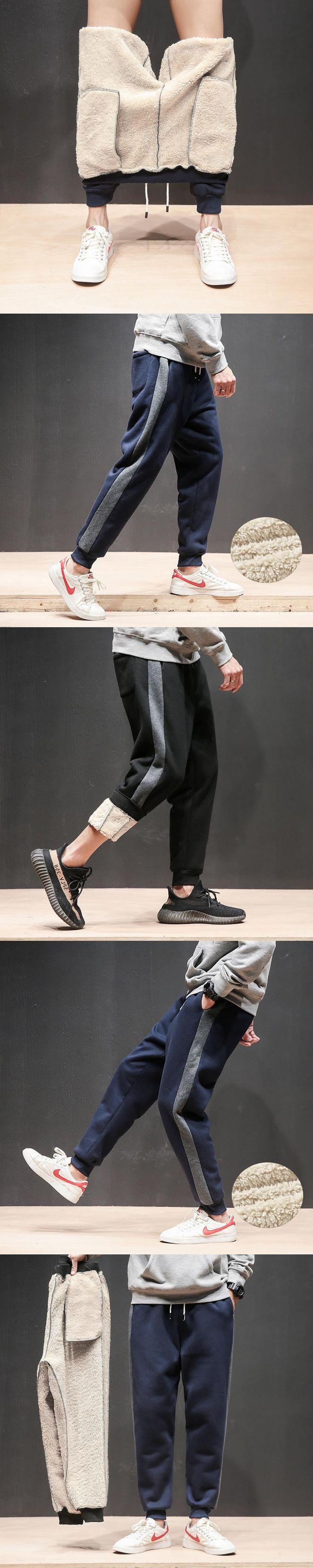 2017 Winter Increase Thickening Hit Color Fashion Lamb Feet Leisure Pants Men Keep Warm  Windbreak Pocket Pantalon Hombre Stripe