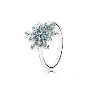 Snowflake silver ring  blue shades of crystal -pandora #jewellery