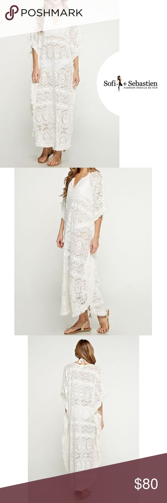 Gorgeous Cotton Long Lace Caftan Beach Cover Ivory Perfect for Honeymoons or the vacation of a lifetime! 100% soft  cotton with fringe, kimono sleeves and generous sizing. Quality compare to Anthropologie!  Sorry, NO TRADES  Price firm unless bundled Swim Coverups