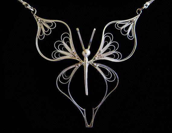 Butterfly silver pendant in italian filigree