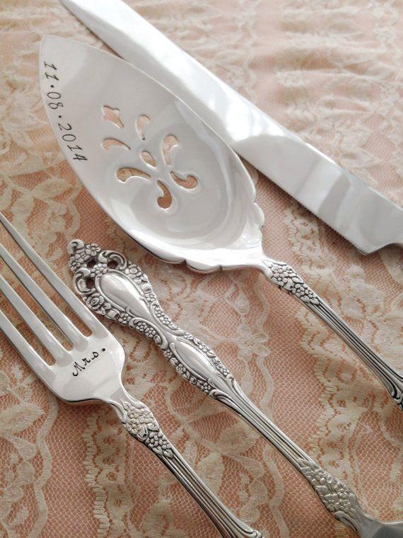 Mr Mrs Forks And Cake Server Knife Set Vintage Wedding