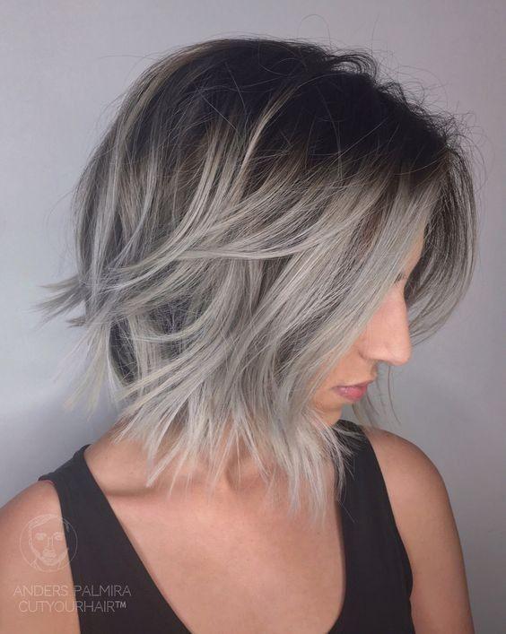 Ombre, Balayage Lob Hairstyle para cabelos finos