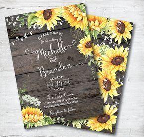 Rustic Wedding Invitation Rustic Sunflower Invitation