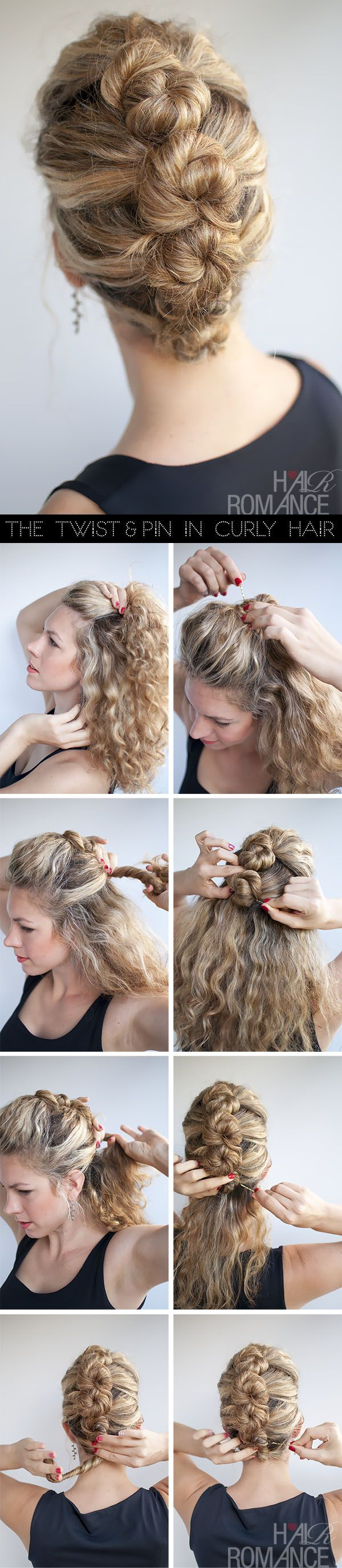 Hair Romance hairstyle tutorial - The French Twist and Pin in curly hair -- I could only wish for hair this thick and lovely.  My hair and this style would look like I had blonde pimples on my head.  :\