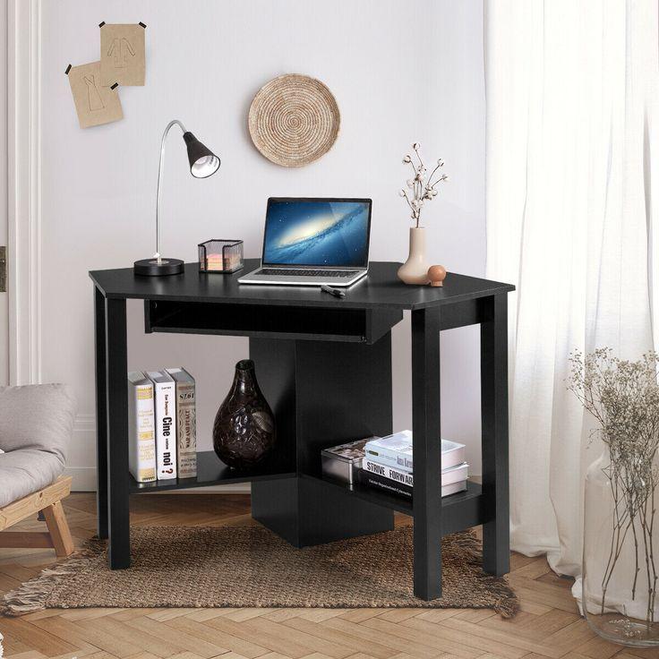 Scrivania Porta Pc Nero.Costway Office Corner Desk Computer Desk Costway Scrivania