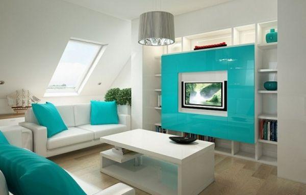 design : wohnzimmer grau türkis ~ inspirierende bilder von ... - Farbideen Wohnzimmer Braun
