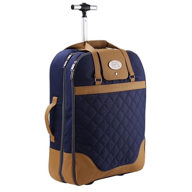 Cabin Max Monaco Dress & Suite Carrier Hand Luggage Suitcase 55x40x20cm (Navy Blue). Two zipped main compartments with multiple internal pockets and a hanger holder. Shower resistant polyester material. Stylish quilted external design with a telescopic handle. A soft shell dress carrier with multiple carrying handles. Measures just 55x40x20cm with a weight of just 1.2kg so it is within the hand luggage allowance of most major budget airlines. You can maximise your hand luggage allowance.