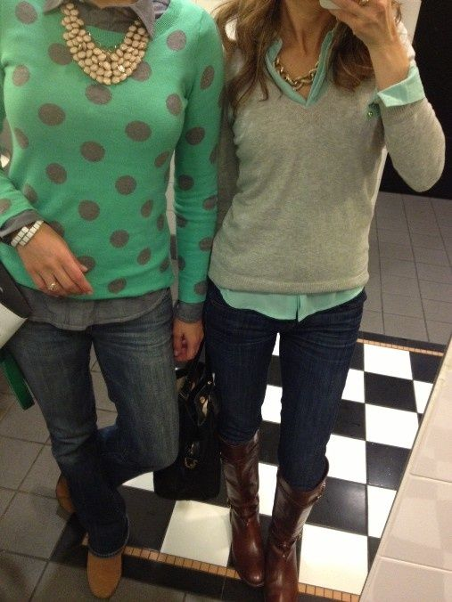 I love the grey sweater with the blue underneath.