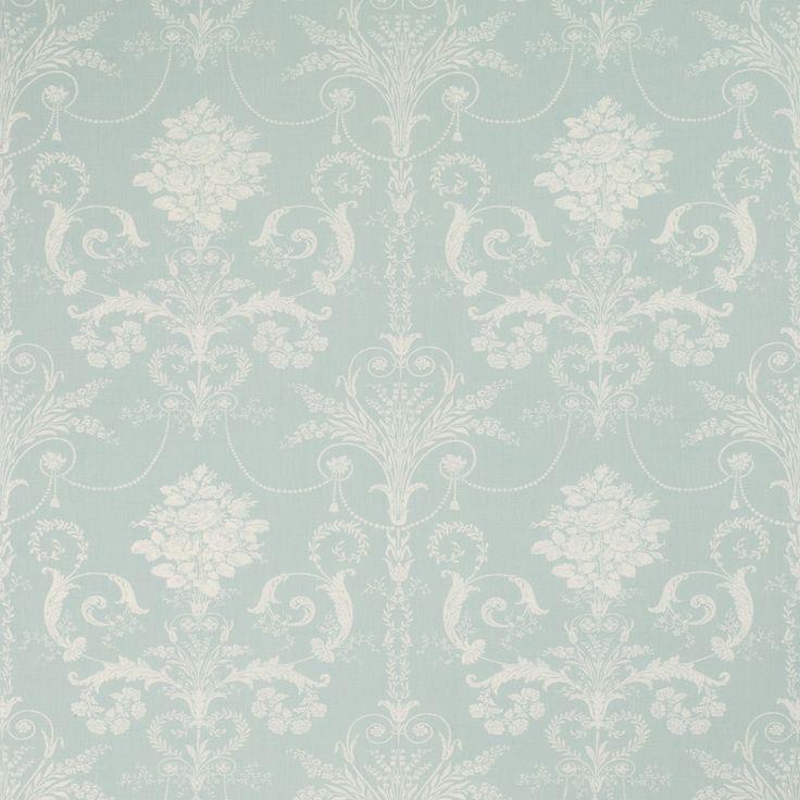 Josette Duck Egg Blue Floral Linen Mix Curtain Fabric By