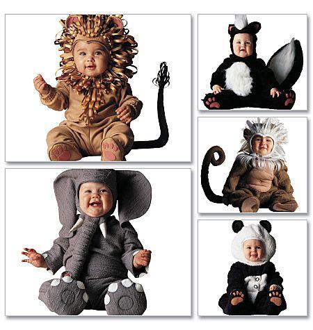 mccalls 6105 baby animal costume sewing pattern elephant tiger monkey panda and skunk size halloween costume pattern - Baby Halloween Costume Patterns
