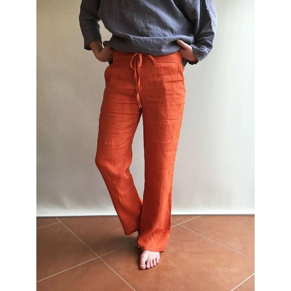 Linen Trousers Womens Pants Summer Trousers Plus Size Clothing Linen... ($112) ❤ liked on Polyvore featuring pants, orange, women's clothing, zip pocket pants, red pants, plus size linen pants, plus size red pants and zipper pants