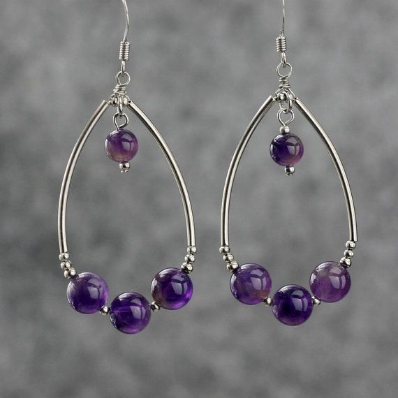 Amethyst dangling Tear drop loop earrings by AnniDesignsllc                                                                                                                                                                                 More