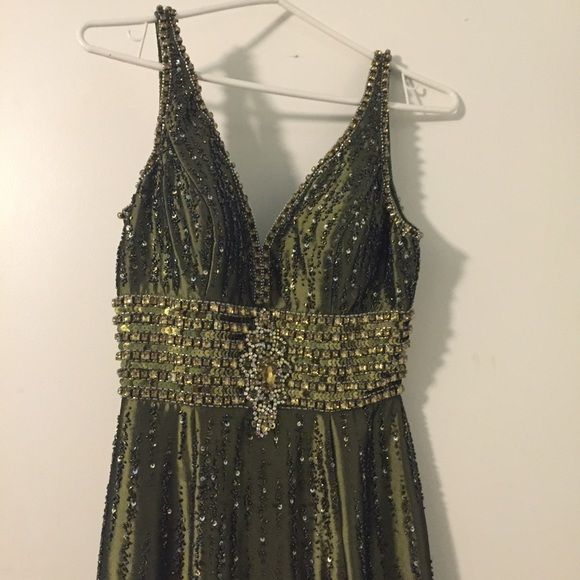 Olive Mermaid Beaded Gown  Very Elegant Dress w/ Amazing Beading                                               Mermaid Style                                                 15% Off for 2+ Bundle                                              Great Condition!                                                         Fast Shipping                                                  Please ask any questions or for more pictures before purchase. ☺️ Thank you! Dresses Prom