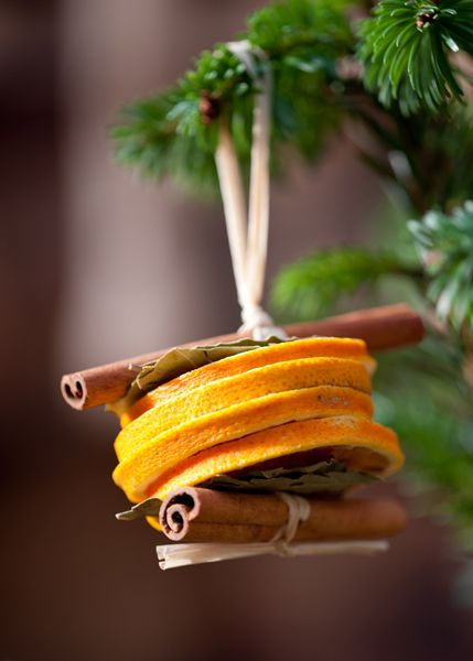 Dried orange slices and cinnamon stick Christmas tree decorations.. They smell…