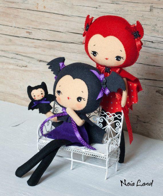 PDF. Poupées Halloween chauve-souris et le diable avec par Noialand