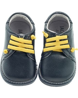 These adorable, durable infant shoes are easy to slip on and take off, thanks to the unique yellow laces.