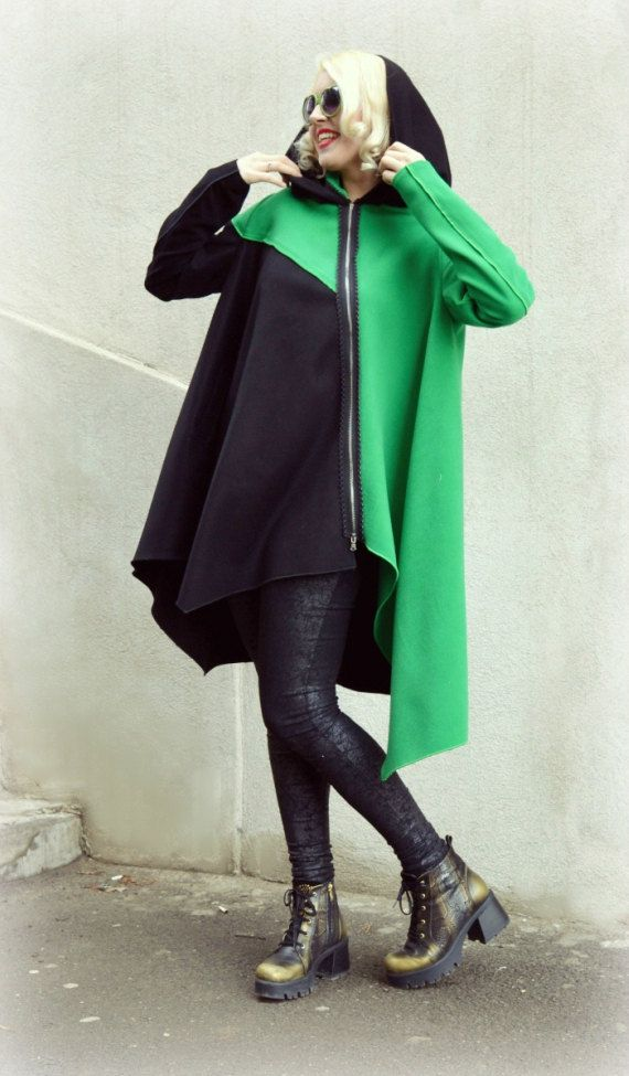 Asymmetrical Wool Hooded Coat / Black and Green Hooded by Teyxo