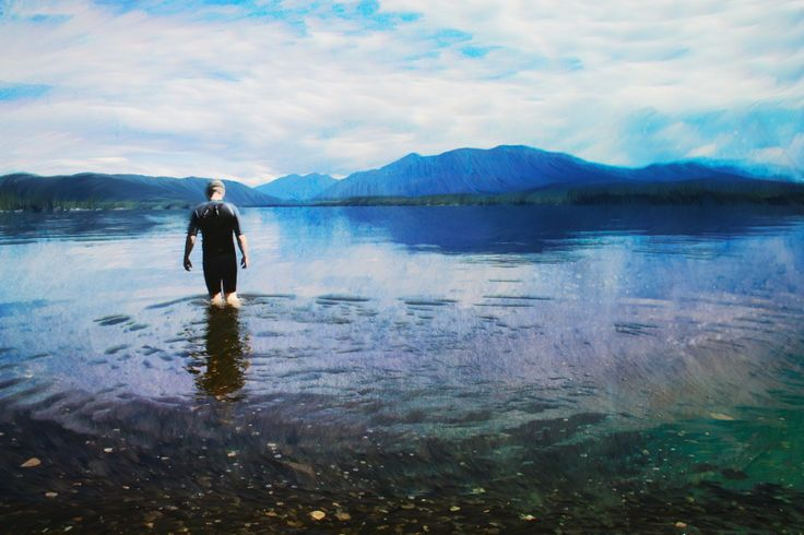 Deep Waters. A painterly version of me wading into a lake in BC, north of 100 Mile House.