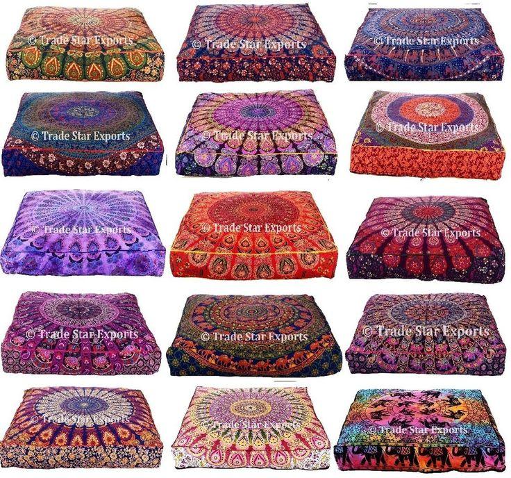 Indian Mandala Box Pillow Case Bohemian Meditation Throw Floor Cushion Cover Art #Handmade #ArtDecoStyle