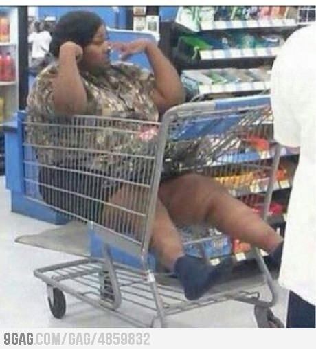 Meanwhile at walmart... How did she get in there?...how???