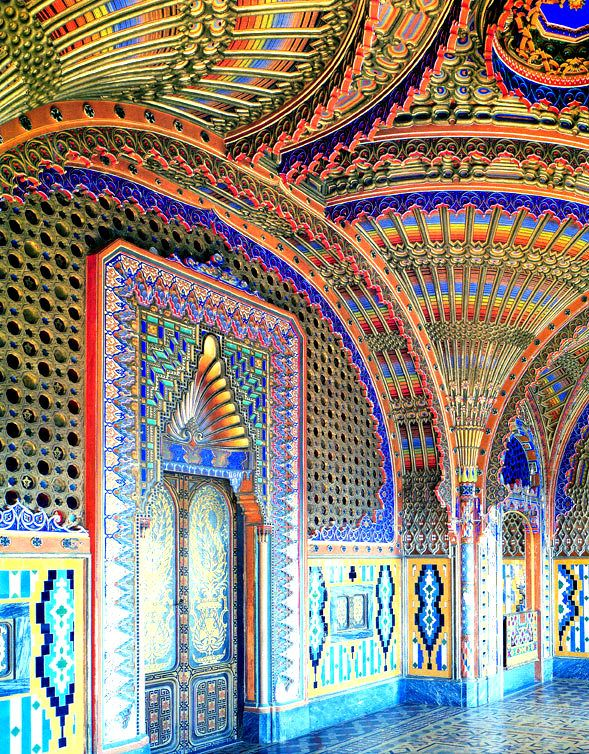 The extravagant residence Castello di Sammezzano sits on top of a hill in Tuscany, Northern Italy. Click to shop Matthew Williamson beachwear.
