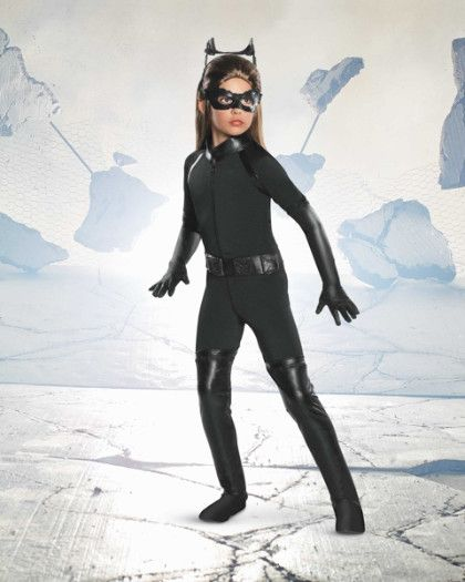 Catwoman Costume For Girls - Purrfectly suited for a life of crime, your villainess moves silently in this black bodysuit with attached boot tops.