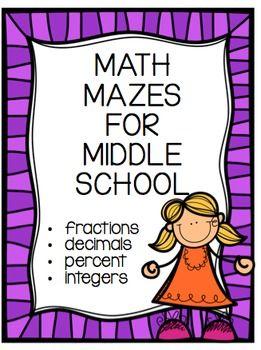 Middle School Math Mazes Bundle FRACTIONS!