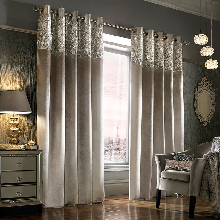 Kylie Minogue At Home Esta Silver Curtains in Ready Made Curtains - Metal Eyelet Style Heading at Seymour's Home