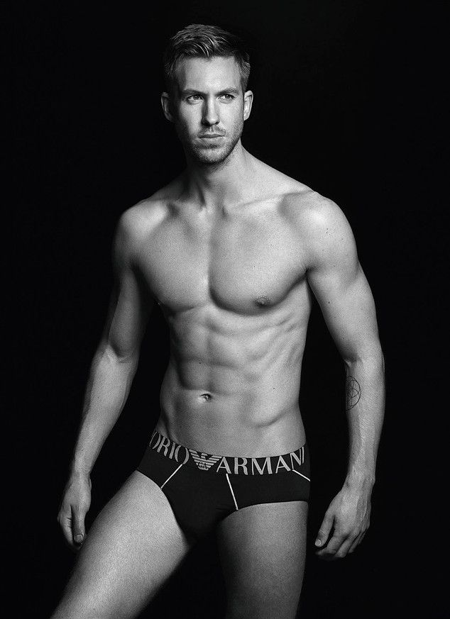 Calvin Harris Looks Stupid Hot in Nothing But Armani Briefs