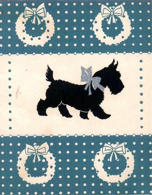Vintage Scottie Dog Christmas Card  Scottish terrier