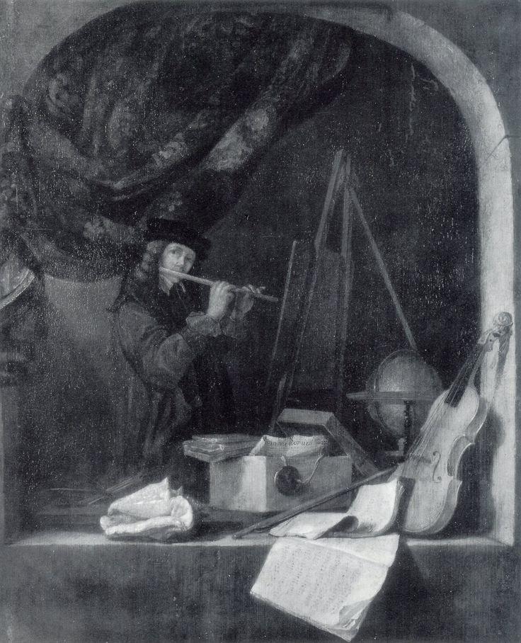 Quiringh van Brekelenkam: fluitspelende schilder. ca. 1665.  Particulier bezit. Geïnspireerd op Gerard Dou: Fluitspelende jongeman in een studeervertrek. ca. 1636. Brekelenkam nam over: figuur in volle lengte, onderwerp, objecten die bij studie horen zoals de globe. De ronde bovenkant van Dou's schilderij als boog. En geïnspireerd op: Een oude schilder in zijn atelier. 1649. Brekelenkam nam over: het onderwerp, de compositie, de boog, het gordijn en het stilleven op de vensterbank.