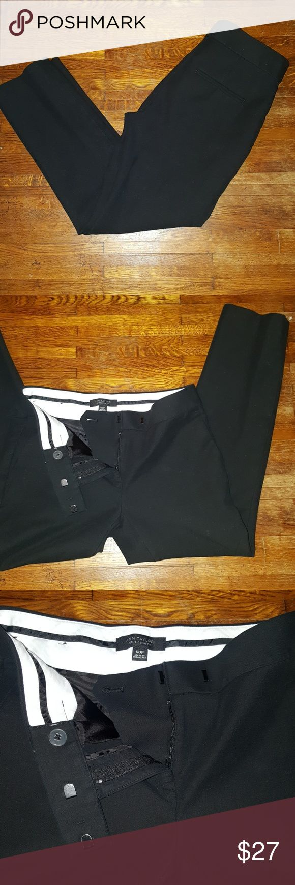 Ann Taylor Petite Devin Fit Black Slacks Re-posh  Excellent condition, a little too big for me.   Black skinny dress pants. Very solid nice material that will last a while!   No fading, holes, etc. Like New!  Bought a few weeks ago and unfortunately they don't fit my body.   Great work or dress pants! A must have staple!   Front and back pockets. Zip fly, double hook closure with hidden inside button closure. Ann Taylor Pants Skinny
