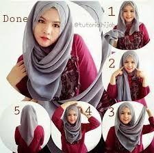 Hasil gambar untuk Gambar tutorial hijab segi empat