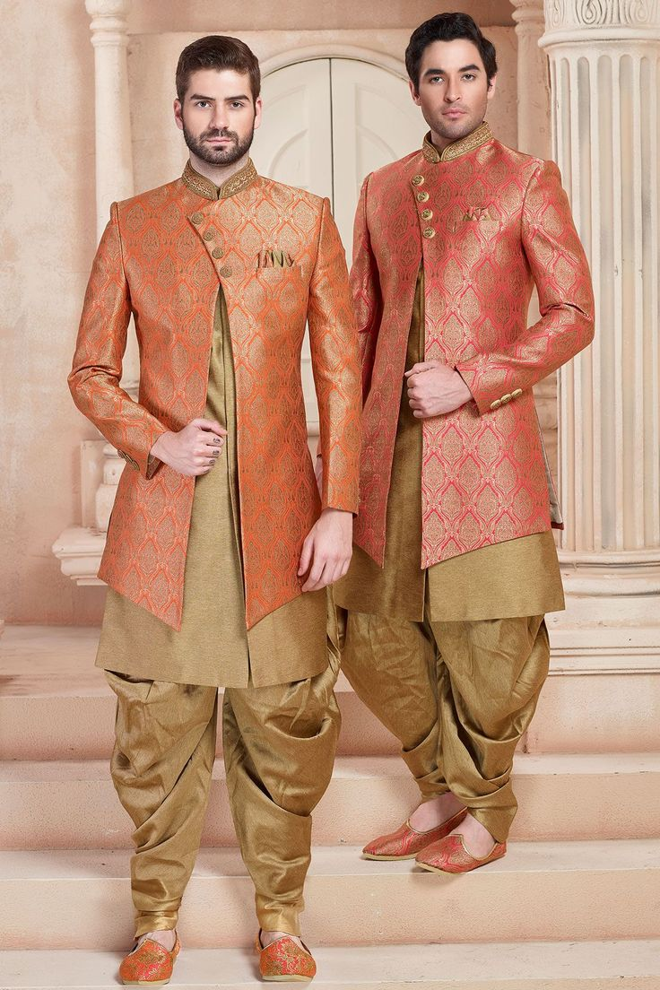 Orange & Gold Zari Embroidered Brocade Indo Western Sherwani-IW1023