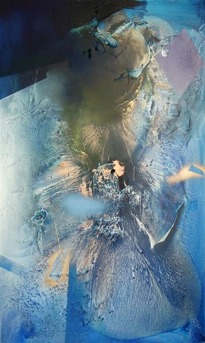 Original art for sale at UGallery.com | At Sea Between Fossils and Satellites 2 by Melisa Taylor | mixed media artwork | 60' h x 36' w #abstract #art