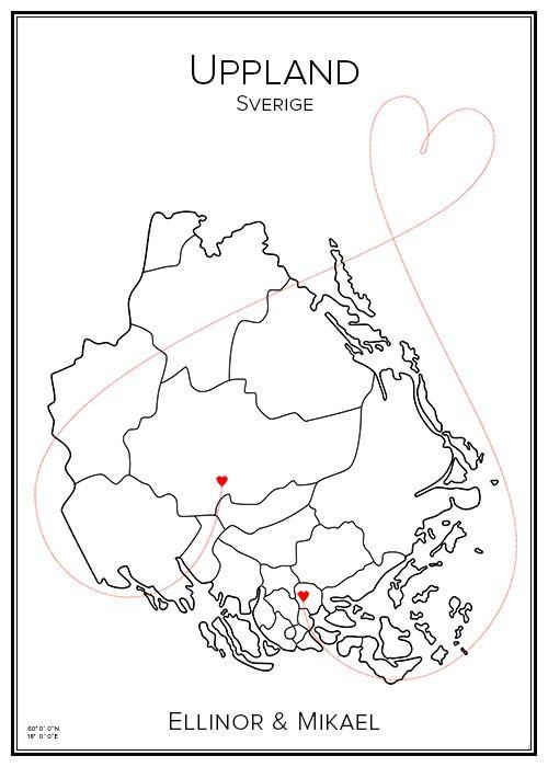 Kärlekskarta. Uppland. Sverige. Map. City print. Print. Affisch. Tavla. Tryck. Stadskarta.