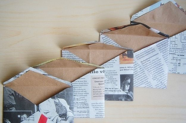 Envelopes - How to found here http://blog.kanelstrand.com/2012/10/diy-recycled-newspaper-envelopes.html  |  New Uses For Old Newspapers And Magazines
