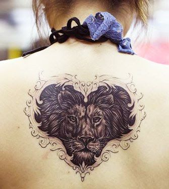 Heart Of A Lion Tattoo Design On Back For Girl, celtic lion tattoo, celtic lion tattoos ~ Look My Tattoo